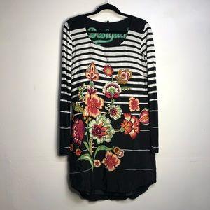 Desigual floral black white stripe dress